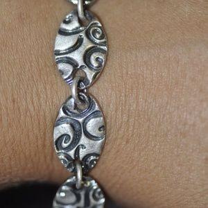 Jewelry - Fine Silver Oval Link Bracelet with Triangle Clasp